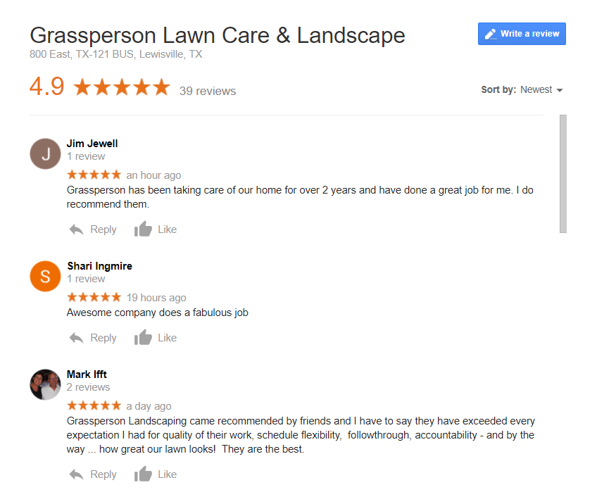 Grassperson Customer Reviews on Google