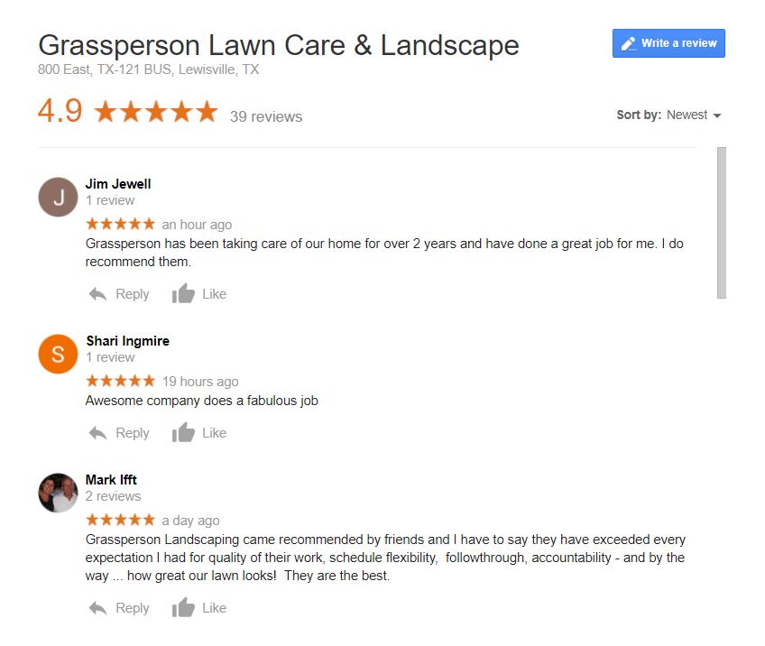 Grassperson Customer Reviews on Google