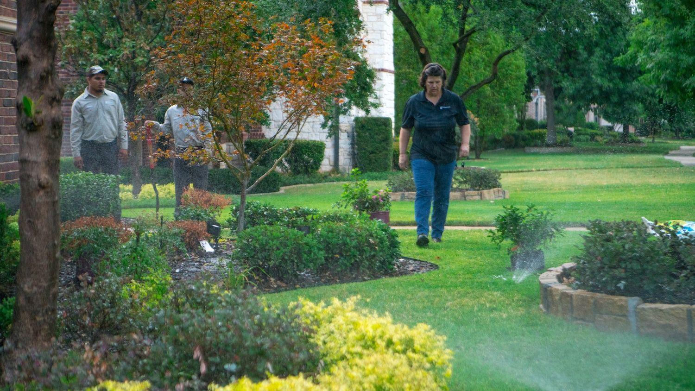 irrigation system spraying after landscape enhancements