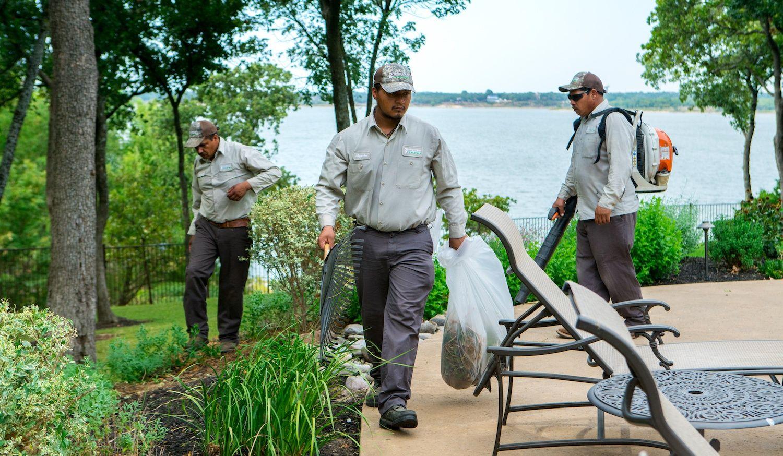 Landscape maintenance crew cleanup