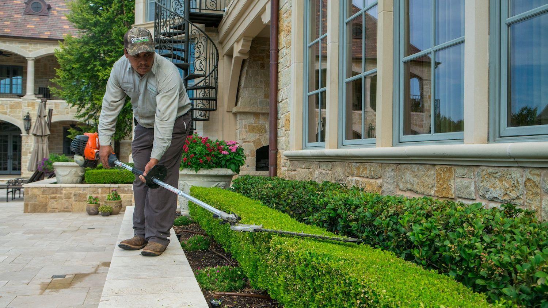 landscape maintenance technician trimming shrubs