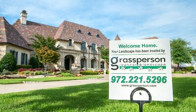 Grassperson lawn care sign Flower Mound, TX