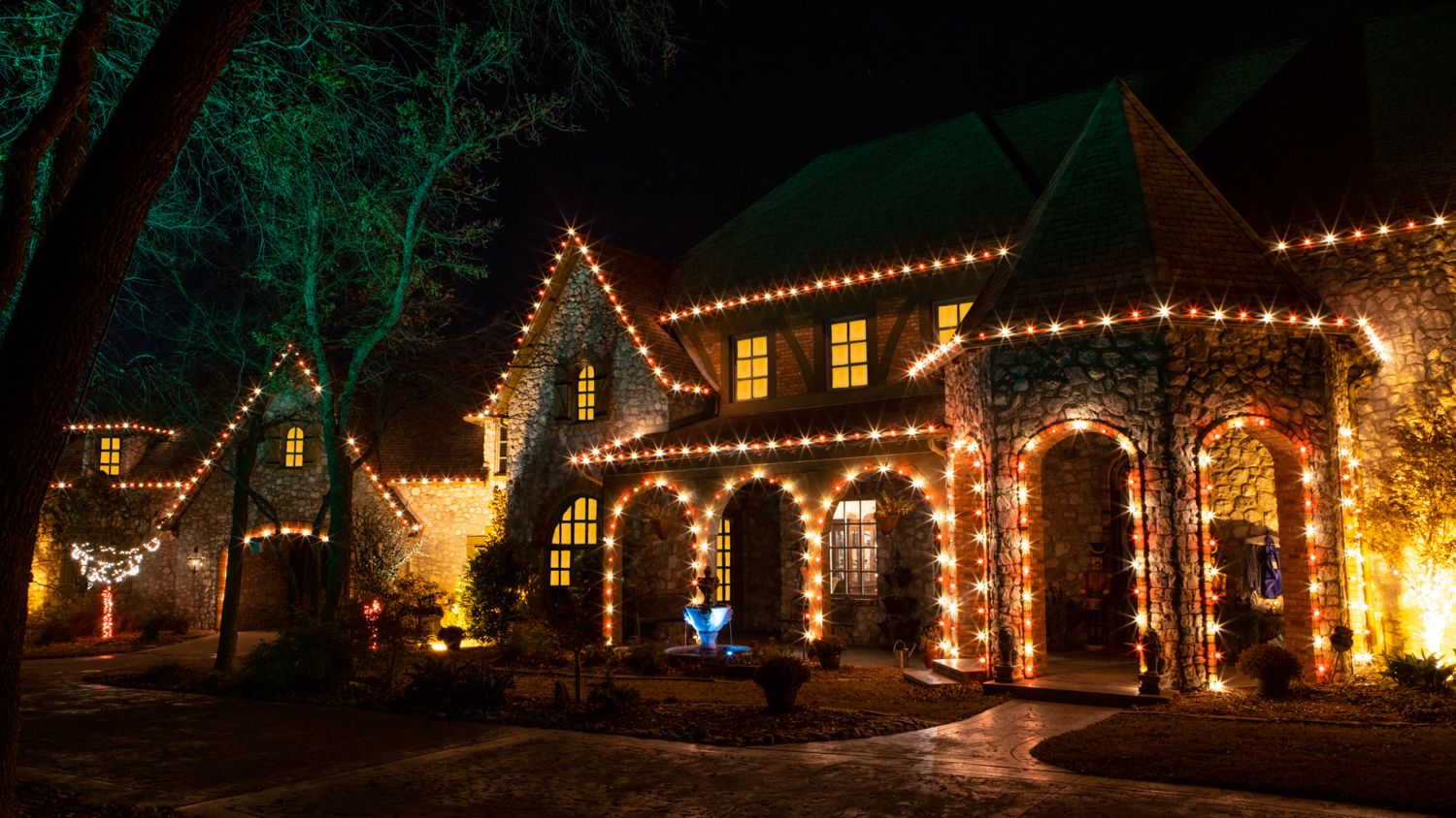 House with professional holiday lighting