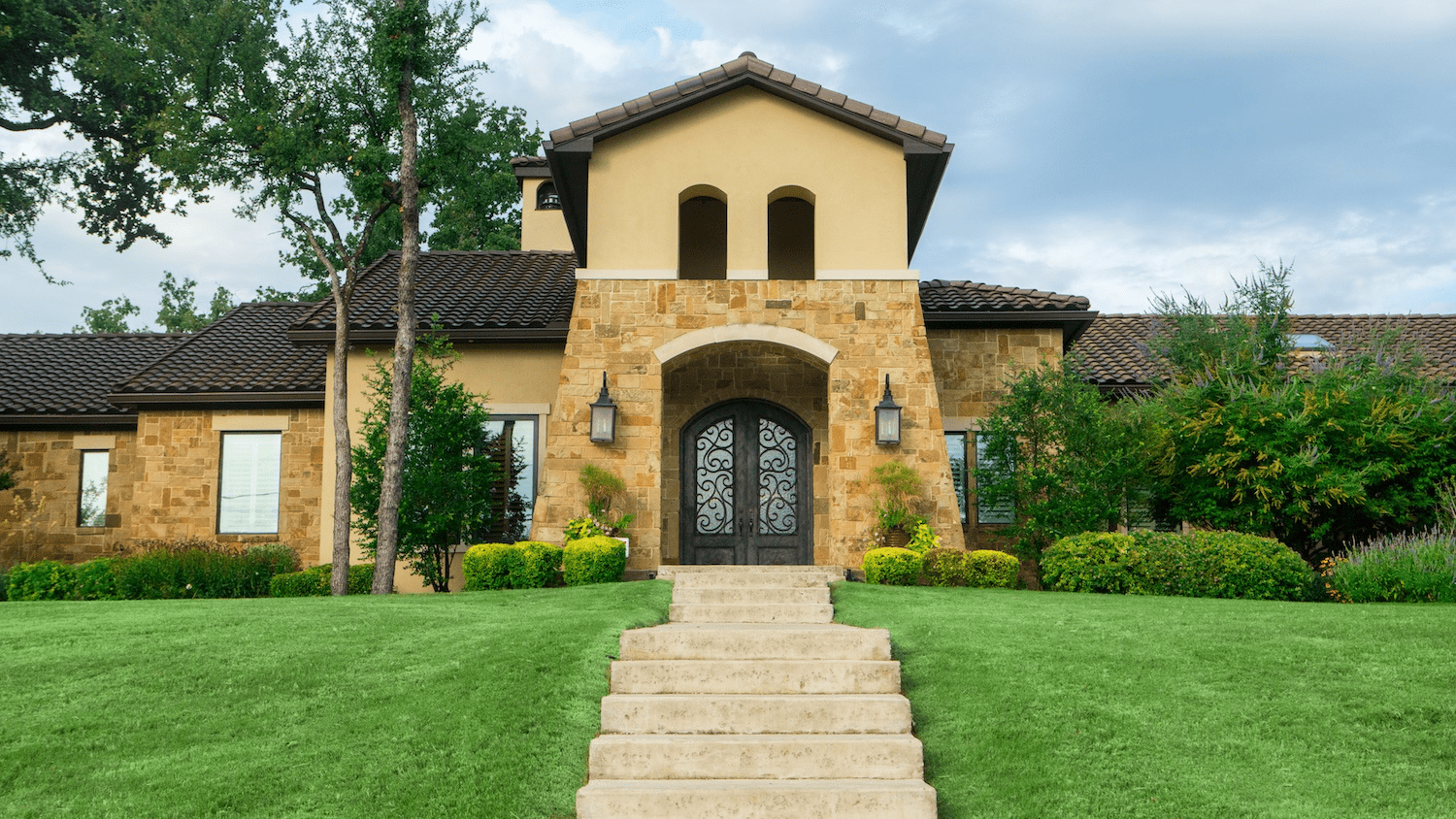 house-lawn-stairs-walkway-shrubs-bushes-trees